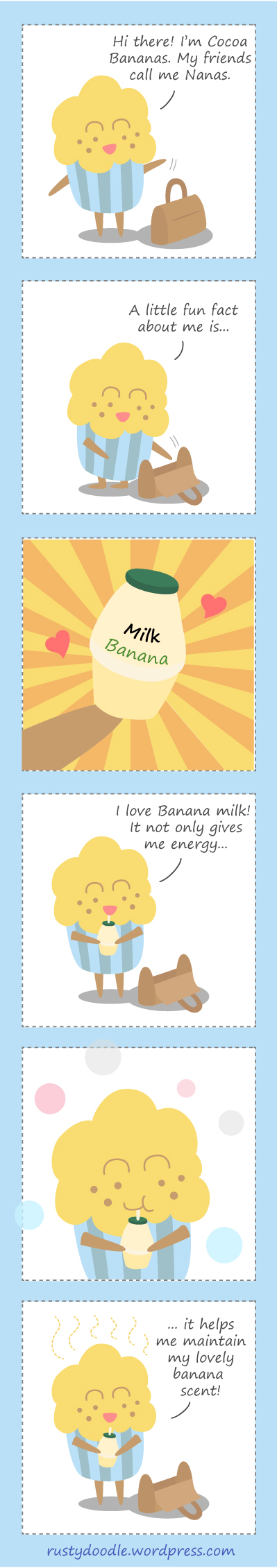 Comic Strip on Cupcake and Banana Milk
