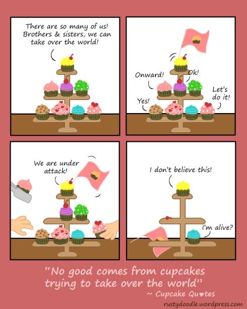 Comic Strip on Cupcakes