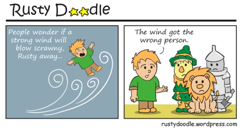 Comic Strip on flying thin people