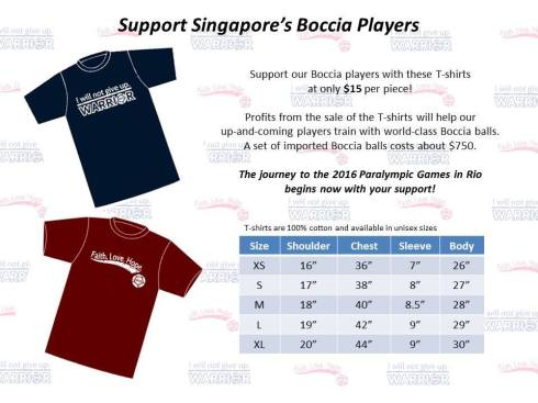 Singapore Boccia T-shirts Design