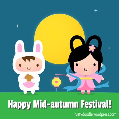 Happy Mid-Autumn Festival with Cute Chang-e and Rabbit