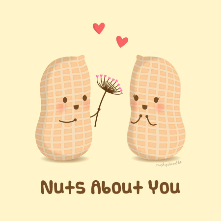 Nuts About You Cute Love Pun Humor